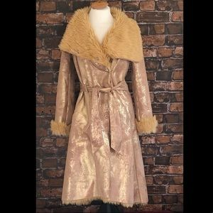 Armani Exchange Gold Suede Fur Coat